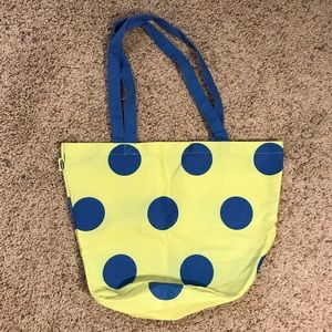 Old Navy Lime green with blue polka dot tote bag